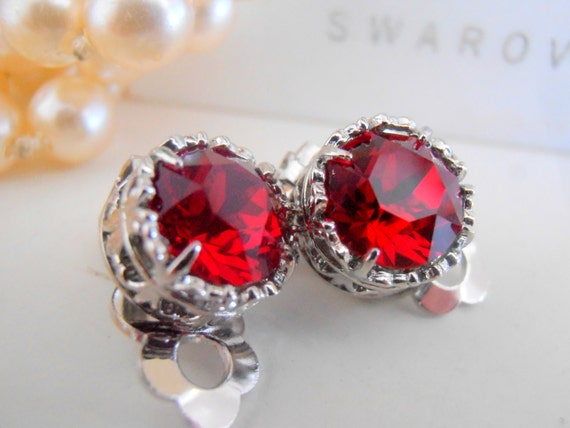 Swarovski Clip on earrings, Siam Red Studs, Non Pierced for girls, Post Earrings, Art Deco, Filigree, Vintage Jewelry, Platinum Plated
