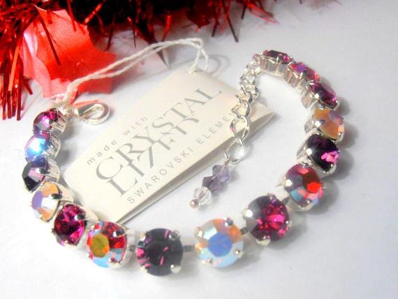 Swarovski Crystal Bracelet, Amethyst Multicolors, 8mm, Chatons, Sterling Silver Plated, Shabby, Cupchain, tennis bracelet