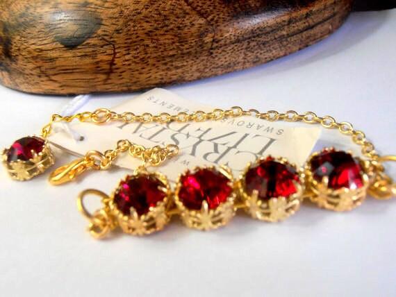 Ruby Swarovski Crystal Bracelet / Art Deco Filigree Bracelet / Valentines Day Gift