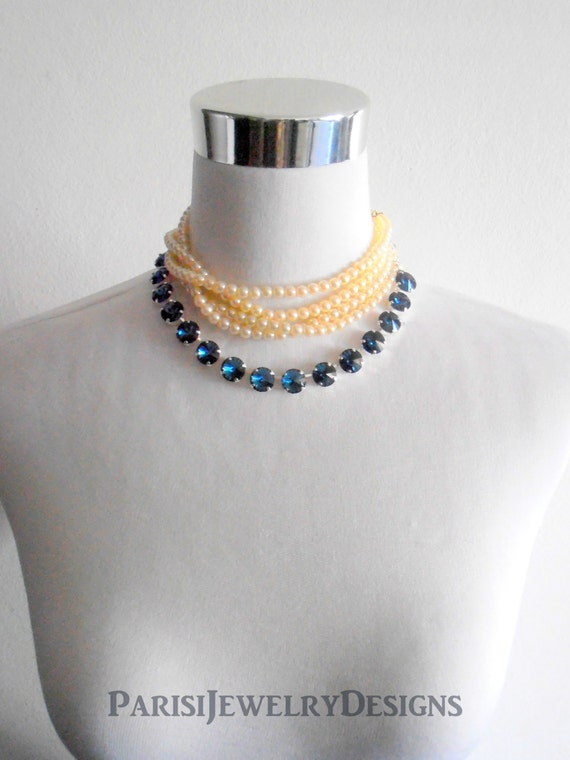 Montana Blue Statement Cup chain Rivoli Necklace made with Swarovski Crystals