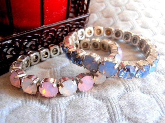 Swarovski Stretch Bracelet / Opal Blue/white Opal/Rose Water Opal / Cuff Tennis Bracelet / Gift for her / Fashion Bracelets