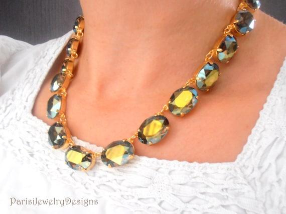 Anna Wintour Necklace / Swarovski Handmade Jewelry / Gold Crystal Collet