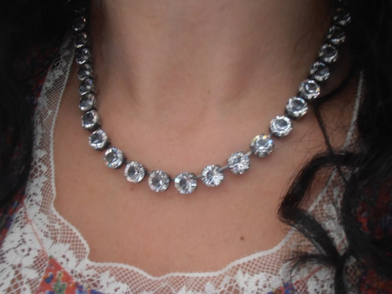 Clear Swarovski Crystal Necklace / Cup chain Choker / Women's Jewelry / Prom Collet