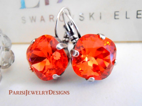Swarovski Earrings / Cushion Cut Earrings / 12mm Dangle Earrings / Padparadscha Crystals / Leverback Drop Square Cut / Gift for her
