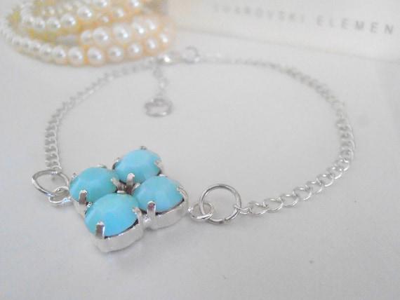 Dainty Swarovski Bracelet / Delicate Mint Alabaster Chain Crystal Bracelet / Chatons 8mm SS39 / Gift For her / Fashion Bracelets
