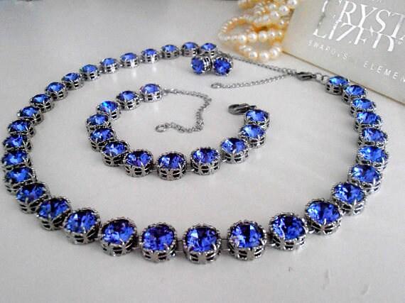 SET Tanzanite Swarovski Collet Necklace•Art Deco Crystal Choker • Wedding