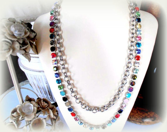 Long Swarovski Crystal Necklace / Bohemian Jewelry / Gift for her