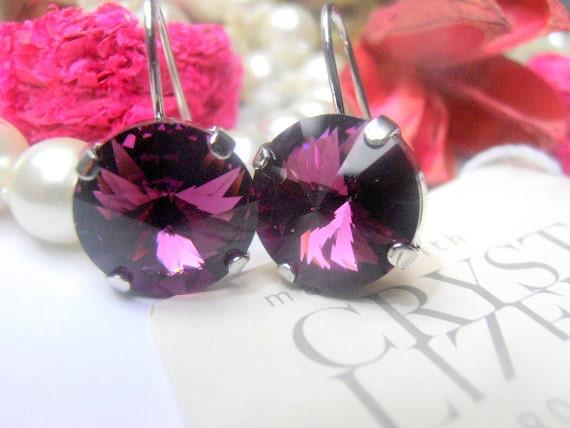Amethyst Rivoli Earrings w/ Swarovski Crystals • Platinum Jewelry