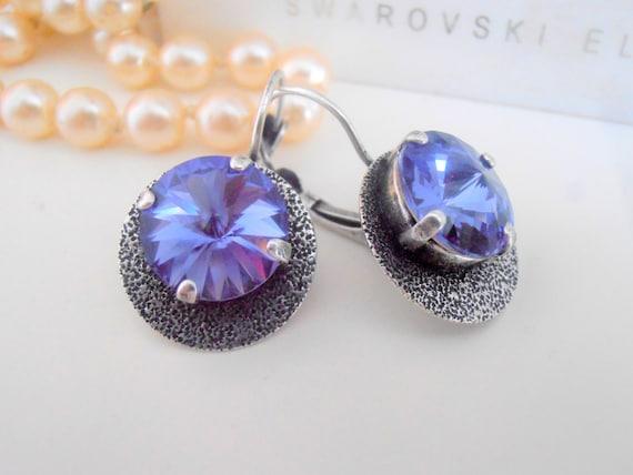 Tanzanite, Swarovski Earrings, Bohemian, Hammered Statement Earrings, Rivoli Disc Earrings, Dangle Drop Earrings in Antique Silver
