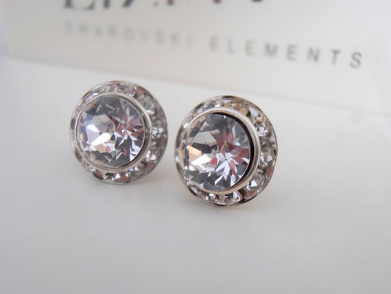 Diamond Clear Halo Earrings w/ Swarovski Crystals/ Bridal Jewelry / Stainless Steel