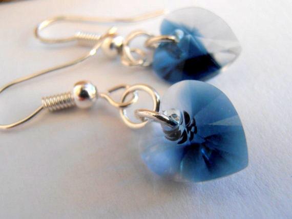 Crystal/Montana Blend, Swarovski Heart Earrings, Dangle, Drop,10x10mm, Blue Crystal, Hook Earrings, Jeans,Silver plated