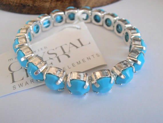 Swarovski Stretch Crystal Bracelet / Turquoise Blue Cuff Bracelet / 8mm Chatons ss39 Silver Plated / Fashion Bracelet