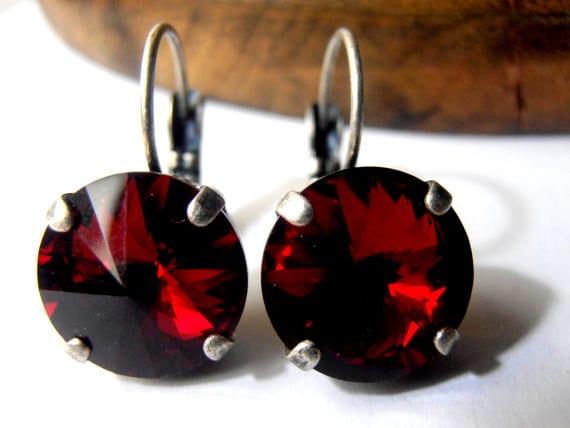 Siam Red Swarovski Drop Earrings / 12mm Rivoli 1122 / Vienna Dangle Pierced Leverback