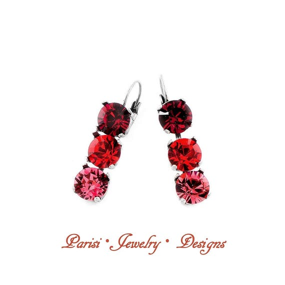 Swarovski Crystal Earrings / Dangle & Drop Leverback Earrings / Multi-colors Ruby-Rose-Hyacinth/ Tennis Cupchain Earrings / Gift for her