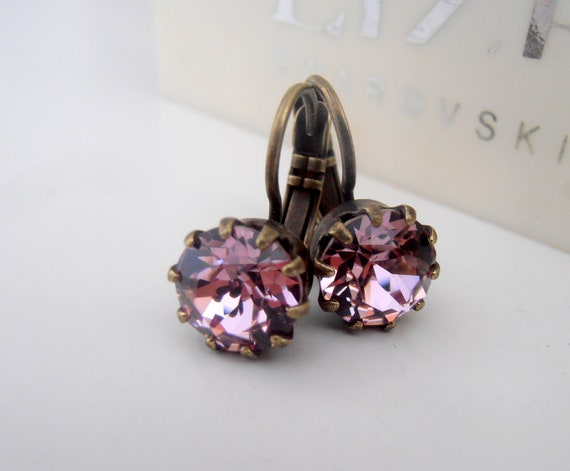 Antique Pink Swarovski Crystal Drop Earrings / Bronze Victorian Jewelry / Women Gift