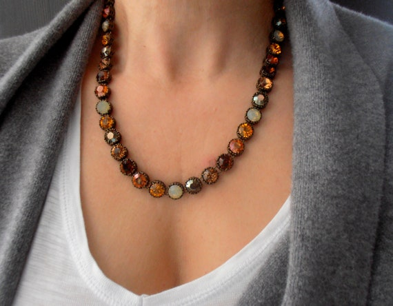 Antique Bronze Crystal Necklace with Swarovski Crystals • Christmas Gift
