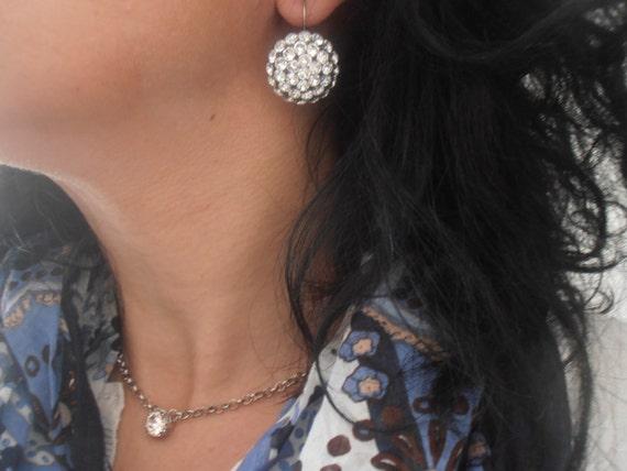 Swarovski Earrings / Statement / Dangle & Drop / Leverback Earrings / Vintage / Clear Matte Crystals /  Bohemian / ParisiJewelryDesigns