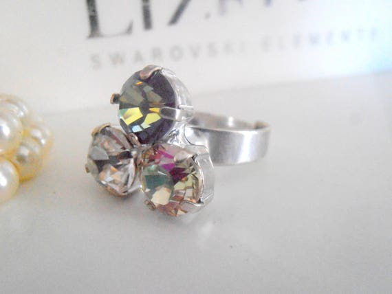 Multi Stone Swarovski Adjustable Ring / Crystal Statement Jewelry