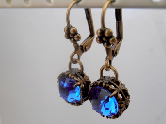Sapphire Art Deco Drop Earrings w/ Swarovski Crystals / Antique Bronze Artizan Jewelry