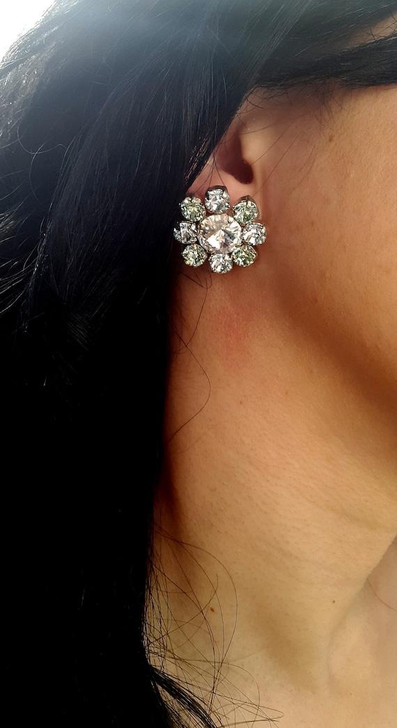 Statement Swarovski Earrings / Maximalist Jewelry / Rivoli Studs / Wedding