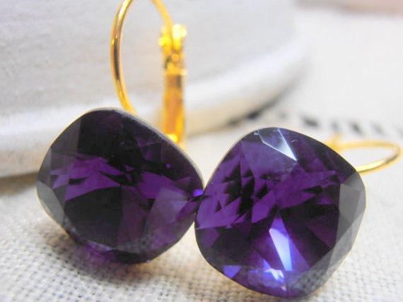 Swarovski crystal Earrings, Cushion cut Earrings, Dangle, Drop Leverback Earrings, Purple Velvet, 12mm, 4470, Gold plated setting