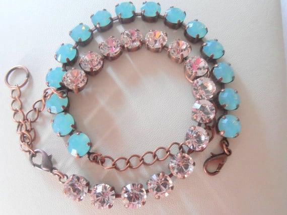 Swarovski Bracelet / Cupchain Tennis Bracelets / Silk/Pacific Opal Crystal / Antique Copper / Chatons / Shabby chic / Vintage Bracelet