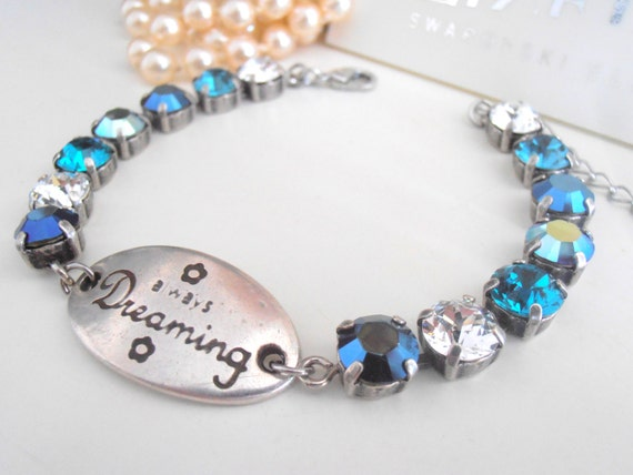 Blue Multi-colors Wish Tennis Bracelet w/ Swarovski Crystals