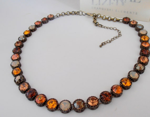Brown Swarovski Crystal Necklace / Antique Bronze Jewelry for Women
