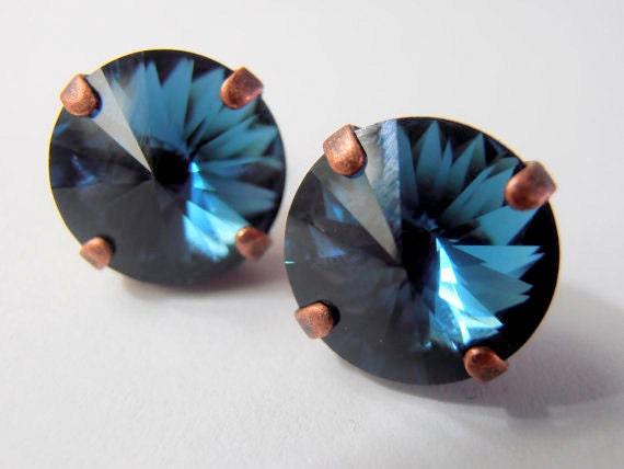 Swarovski Earrings, Rivoli Earrings, Crystal Studs, Montana Blue, Antique Copper, Post Earrings, Costume Jewelry