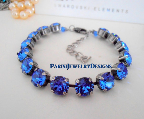 Sapphire Swarovski  Birthstone Bracelet / September Tennis Cupchain / Boho Jewelry