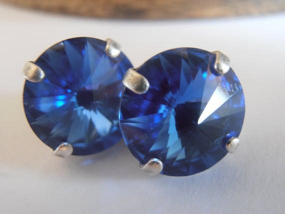 Sapphire, Swarovski crystal, 12mm, Rivoli, Antique Silver, prong setting, Studs, post earrings, Costume Jewelry