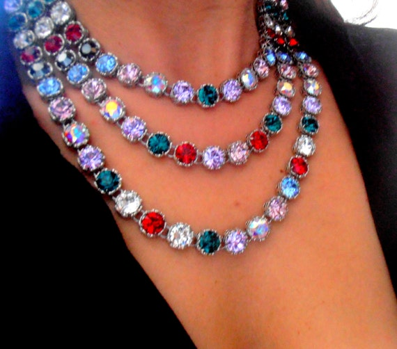 Multi Strand Art Deco Statement Layered Necklace made with Swarovski Crystals