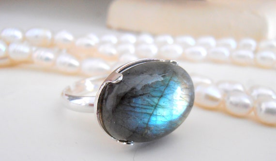 Natural Labradorite Sterling Silver Adjustable Ring 925 / Blue Gemstone Jewelry