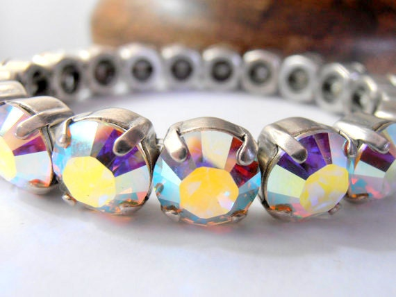 Aurora Borealis / SwarovskI Stretch Bracelet / Wedding Stretch Cuff / 10mm Crystal Sew on Bracelet / Antique Silver / Birthday Gift