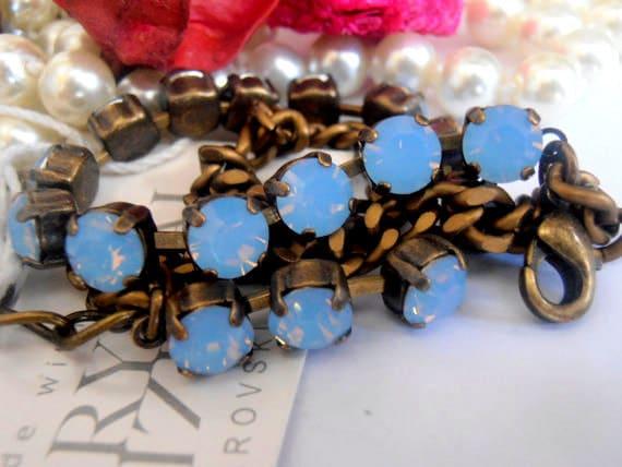 Swarovski Crystal Bracelet, Air Blue Opal, 6mm, Antique Brass setting, Cupchain, Flat Curb Antique Brass Chain, Tennis Bracelet