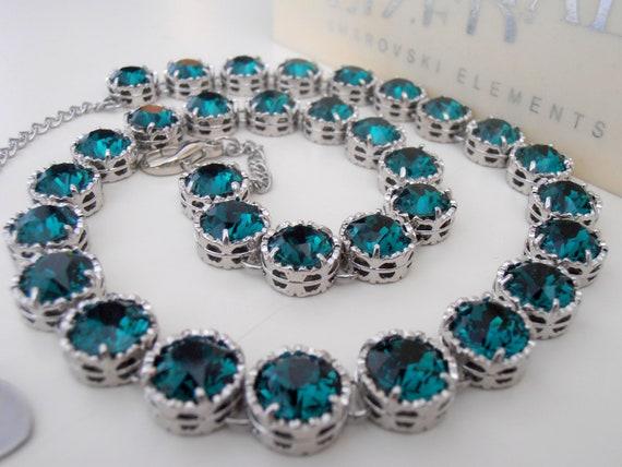 Emerald Swarovski Necklace / Platinum Wedding Jewelry