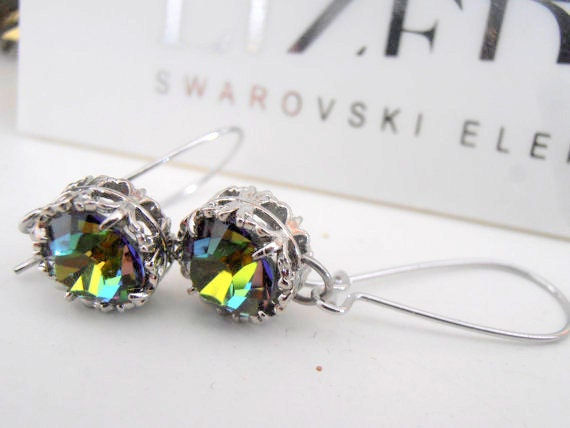 Medium Vitrail Swarovski Drop Earrings / Dangle / Art Deco / Filigree Crystal Leverback Earrings / Vintage Earrings / Gift / Bohemian