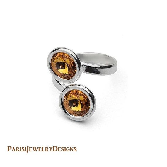 Double Stackable Rings // Swarovski Crystal Rivoli Ring // 925 Sterling silver Rings