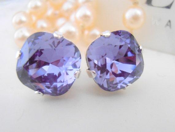 Tanzanite Cushion Cut Earrings / Swarovski Wedding Stud Earrings / Bridal Pearced Post Earrings with Surgical Steel Pad / Gift