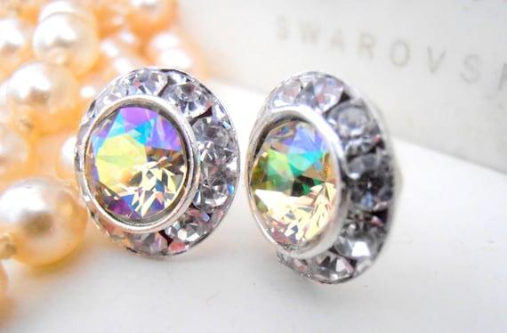 Halo Earrings, Swarovski Earrings, Luminous Green Crystal Studs, 14mm, Wedding Studs, Bridal, Post Earrings, Bridesmaid Studs