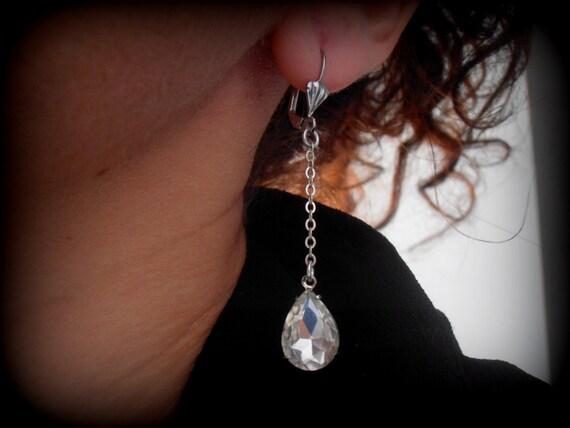 Bridal Teardrop Crystal Earrings • Silver Leverback Long Chain Wedding Earrings