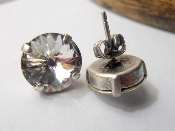 Swarovski Studs,Clear crystal Earrings, 12mm, Wedding, Bridal Studs, 1122 Rivoli, Antique Silver, prong setting, Post Earrings