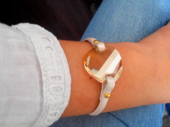 Leather Cuff Bracelet w/ Swarovski Crystals / Statement Layering Jewelry