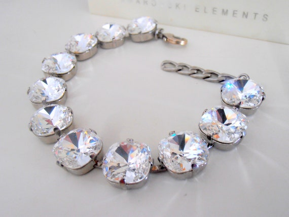 Cushion Cut Bracelet / Swarovski Bracelet / Clear Fancy Crystal 12mm / Cupchain / Tennis Bracelet / Crystals 4470 / Gift for her