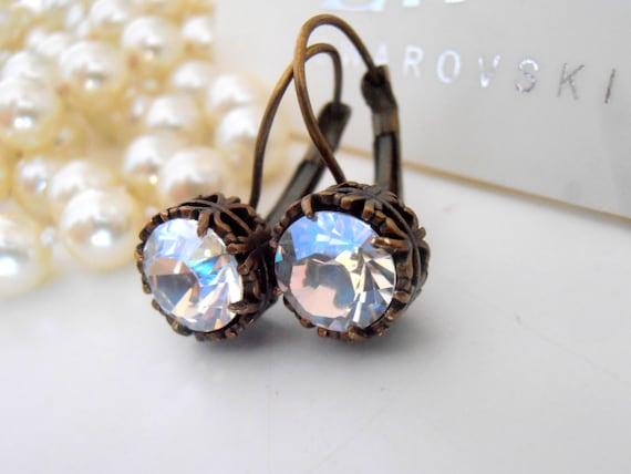Moonlight Swarovski Drop Earrings / Art Deco Earrings / Wedding Earrings / Leverback Crystal Dangle Earrings / Antique Bronze Vintage Style