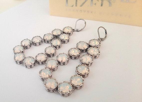 White Opal Long Chandelier Earrings w/ Swarovski / Art Deco Jewelry