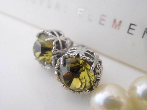 Khaki Green Swarovski Crystal Stud Earrings / Platinum Jewelry / Women's Gift
