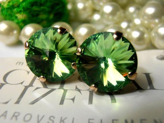 Peridot Green 12mm Swarovski Crystal Vienna Rivoli Setting 1122 Rose Gold Post Earrings Stud Earrings