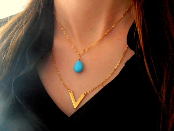 Dainty Layered Turquoise Pendant • Geometric V Bar Tear Drop Necklace