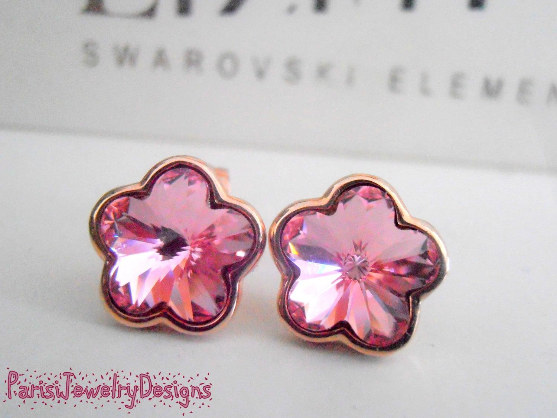 Flower Swarovski Stud Earrings / Rose Gold Pierced Post Earrings ...